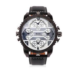 Wholesale Military Clock Time - Famous Designer Mens Watches Top Brand Quartz-Watch Oulm Leather Strap Big Face Military Multiple Time Zone Quartz Clock relogio WHQL007