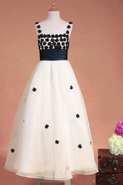 Wholesale Sheath Dress Kids - Ivory and Black Host dress Sheer Jewel Sheath Floor length Satin Fold Organza Hand Made Flower Child Kids Party Dresses Pageant Dresses