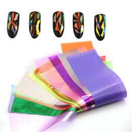 Wholesale Aurora Models - Wholesale- 20 Colors Lot 10cm explosion models Symphony irregular broken glass nail stickers nail Aurora platinum paper mirror glass paper