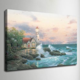 Wholesale Canvas Pictures Living Room - Thomas Kinkade Oil Painting Landscape Rural cottage HD Canvas print Wall Art Pictures Home Decor Living Room Decoration