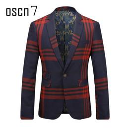 Wholesale Leisure Slim Plaid Suit - Wholesale- OSCN7 Navy Blue Red Plaid Men Blazer Slim Fit Leisure 2017 Latest Business Formal Blazer Masculino Plus Size Mens Suit Jacket