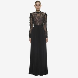 4c989c4f7cbf High Quality Black Lace Long Seeve Maxi Dress Elegant Floor Length Vintage  Pleated Runway Dress Women Sexy Evening Party Dresses