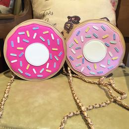 Wholesale Donuts Bag - Wholesale-Unique design lovely personalized fashion brand new mini-donuts chain shoulder bag ladies clutch bag across body messenger bag