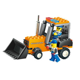 Wholesale Truck Brick Toy - brick set Coll!! New Arrival 4 Kinds Of Engineering Vehicles Building Blocks Toy Truck Mixer Bulldozer Roller Construction Bricks Gift