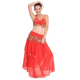 Wholesale Belly Dance Tribal Tassel - 2017 New 3pcs Belly Dance Costume Bollywood Costume Indian Dress Bellydance Dress Womens Belly Dancing Costume Sets Tribal