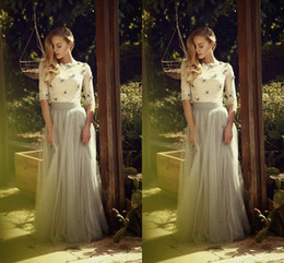 Wholesale Summer Skirts For Ladies - Modest Silver Gray Long Skirts For Women Ruffles Tulle Floor Length Spring Autumn Evening Prom Skirts Formal Ladies Maxi Skirts