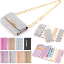 Wholesale Iphone Chain Wallet - Rhinestone Bling Diamond 2 in 1 Wallet Case Glitter Shining Cover with Metal Chain Shoulder Phone Bag for iPhone 7 6 6S Plus Samsung S7 Edge