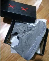 Wholesale Grey Market - New Arrival With Box Retro 4 Kaws Basketball Shoes Air IV Grey Color Glow Suede Shoes Best Quality In Market size 41-47