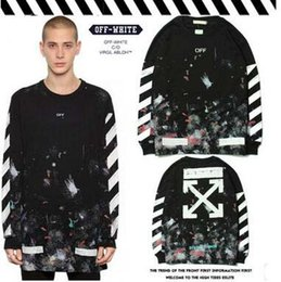 Wholesale Long Sweatshirts For Sale - Newest OFF WHITE Tide Brand Hoodies Fireworks Starry Graffiti Hoodies Sweatshirts Arrow Black Hoodies Tennager Streetwear For Sale