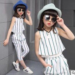 Wholesale Clothes For Teenage Girls - Kids Clothing Sets For Outfits Sleeveless Striped T-Shirts & Trousers 2Pcs Cotton Vests Teenage Girls Elastic Waist Pencil Pants