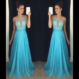Wholesale One Shoulder Long Eveing Dresses - Elegant A Line Prom Dresses 2017 New One Shoulder Appliques Sequins Long Chiffon Party Eveing Gowns