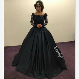 Wholesale Graceful Dresses - Graceful Black Princess Evening Dresses Long Sleeves Sheer Lace Beaded Appliques Scoop Ruched Ball Gown Party Gowns Formal Prom Dress