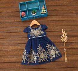 Wholesale Silk Dresse - New Collecting Kids Girl Flower Embroidery Dresse Navy Color Size 2-6x Off Shoulder Summer Lovely Dress 6Pcs Lot