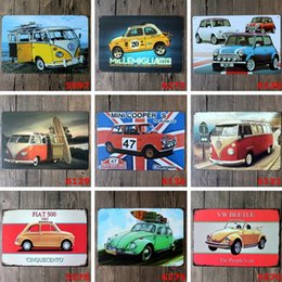 Wholesale Art Wall Plaque - Bar Metal Paint Mini Car Tin Sign Vintage Decor Tin Sign Bar Cafe Hotel Wall Poster Metal Sign Retro Painting Plaque Art Craft
