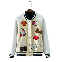 Wholesale Ladies Casual Designs Coats - Women cute patch design bomber jacket pu faux leather coat ladies fashion brand streetwear outerwear tops casaco CT1245