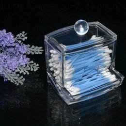 Wholesale White Makeup Storage Boxes - Crystal Cotton Sign Box Clear Acrylic Storage Boxes With Lid Cosmetic Cottons Swab Holder Makeup Tool Hotel Supplies 4 5hc F