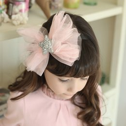 Wholesale Korean Girls Fashion Accessories - Girls hair band children sequins stars accessories korean style tulle BOW headdress 2017 fashion new photography accessories T0670