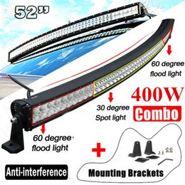"""Wholesale 52 Inch Led Light Bar - 400W 52"""" inch Curved LED Work Light Bar Offroad Boat Car Tractor Truck SUV ATV Outdoor 12V 24V Spot Flood Combo Beam Offroad Working Light"""