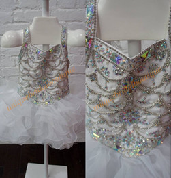 Wholesale Toddler Bodice - Toddler Pageant Dresses 2017 White with Lace Up Back and Major Beading Bodice Real Pictures Bling Bling Little Girls Pageant Dress Cupcake
