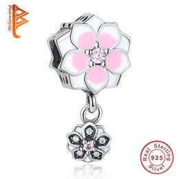 Wholesale Authentic Pandora Love Bead - BELAWANG Authentic 925 Sterling Silver Magnolia Bloom Flower Charm Pendant Orchid Dangle Bead Fit Pandora Bracelet&Necklace DIY Jewelry