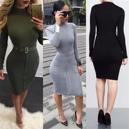 Vestidos ajustados al estilo de la calle online-Top 2018 Nueva marca de alta calidad Moda para mujer Vestidos Sexy Cremallera Doble bolsillo Vestidos ajustados de cadera Cinturón Estilo de la calle Vestidos delgados