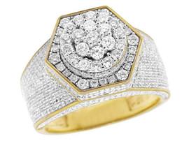 Wholesale Gold Band Pinky Ring - Men's 10K Yellow Gold Genuine Diamond 3D Hexagon Wedding Pinky Ring 3 Ct 14MM