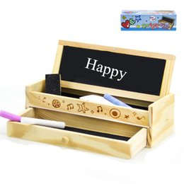 Wholesale Wood Boxes Drawers - Creative Stationery Wooden Pencil Case Multifunctional Wood Blackboard Drawer Large Capacity Stationery Box Natural style pencil box