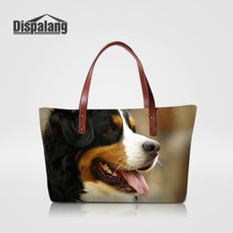 Wholesale Chinese Ol - Ladies Designer OL Style Totes Animal Women's Handbags Chinese Crested Dog Printing Top-handle Bags Girls Shoulder Bag Puppy Dog Female Bags