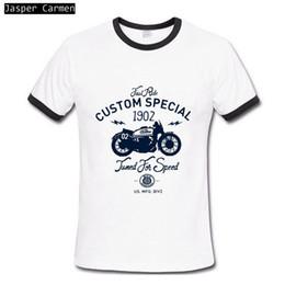 Toptan-Yeni Promosyon 2017 erkek Kısa Kollu T-shirt Moda Kişilik Baskı Alfabe Motosiklet Hip Hop O Yaka Pamuk Üstleri Erkekler cheap wholesale motorcycle t shirts nereden toptan motosiklet tişörtleri tedarikçiler