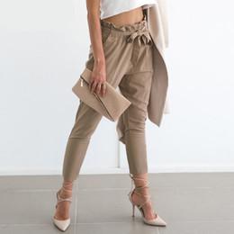 Wholesale Summer Trousers Women - 2017 New Apparel OL Chiffon High Waist Harem Pants Women Stringyselvedge Summer Fashion Style Casual Pants Female Trousers XL