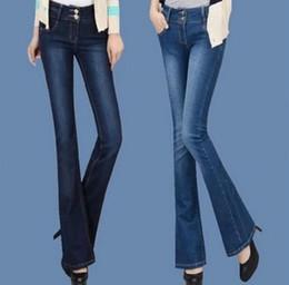 2019 plus hohe taillenglockeböden Großhandel-Plus Size Frauen Bell Bottoms Jeans Neue 2017 Frauen Flare Hosen hohe Taille Breites Bein Denim Hosen Frauen T611 günstig plus hohe taillenglockeböden