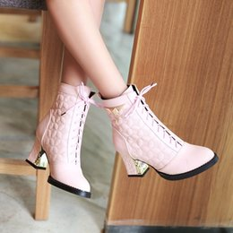 Wholesale High Heels Decorations - Wholesale-2015 New big size 34-48 women shoes fashion Round Toe high heels Sequined decoration Lace-Up silver ankle boots AYY-902-1