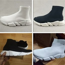 Wholesale Booties Shoes For Men - 2017 Sock Booties Black White Speed Trainer Running Shoes for Men & Women Speed Knit Sock Mid-Top Casual Sneakers