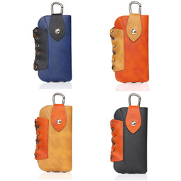Wholesale Outdoor Blocks - Wallet Case Fashion Universal Color Block Leather CellPhone Bag Outdoor Phone Pouch Hook Loop Belt Holster For Phone Between 4.7-5.5 inch