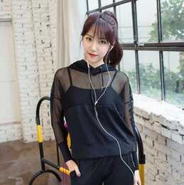 Wholesale Loose Yoga Tops - Fitness Yoga T Shirts Women Sexy Black Mesh Sports T Shirt Long Sleeve Running Shirts Hooded Workout Gym Sport Top Clothes