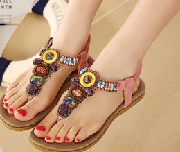 Wholesale Beaded Flat Dress Shoes - 2016 Summer New Bohemia Style Shoes Fashion Women Casual Sandals Beaded Brand flat with Shoes for Lady