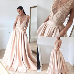 Wholesale Short Sexy Nude Crystal Dress - Elegant Champagne Deep V Neck Prom Dresses Pearls 2017 Embroidery A Line Formal Evening Gowns With Pockets Plus Size Celebrity Party Dress