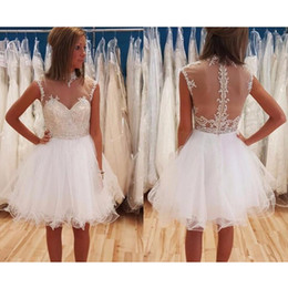 Wholesale Girls Lace Top Pearl - High Neck Transparent Top Homecoming Dresses Beads Appliques Tulle Girls Short Prom Dress Party Gown vestido curto Custom Size