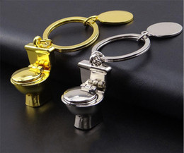 Wholesale Golden Keychain - New Arrival Scale Golden Toilet Keyring Silver Mini-toilet Keychain For Purse Bag Car Party Wedding Gift Collection