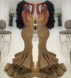 Wholesale Pageant Dresses For Size 12 - 2017 Cheap Long Prom Dresses Luxurious Gold Sweetheart Sequins Mermaid Spaghetti Straps Draped Ruffles Bling Evening Gowns for Pageant Party