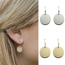 Wholesale Earring Blanks Silver - 2017 Hot New Fashion Disc Round Earrings for Women Fashion Jewelry Gold Silver Plated Monogram Blank Flat Circle Blank Drop Earrings