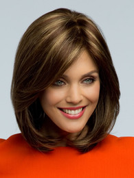 Wholesale Hair Wigs Nature - Fashion Short Nature Stright BOB Wigs Short Brown Hight Light Synthetic Hair High Quality Cheap Lace Front Wigs for Black Women Hot Sale
