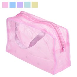 Wholesale Transparent Toothbrush - New Fashion Women Transparent PVC Makeup Bag Portable Cosmetic Toiletry Travel Wash Toothbrush Pouch Waterproof Storage Bag Tools Sac