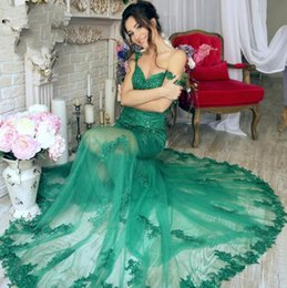 Wholesale Emerald Skirt - Emerald Green Mermaid Evening Dresses 2017 Appliques Off-the-Shoulder Gorgeous Sheer-Skirt Prom Dresses Illusion Skirt Vestido De Festa