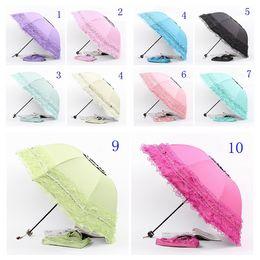 Wholesale Uv Parasols - Redcolourful 4 Colors Women Sun Rain Umbrella Anti-UV Waterproof Parasol Folding Umbrella Lovely Princess Lace Sunshade Umbrella