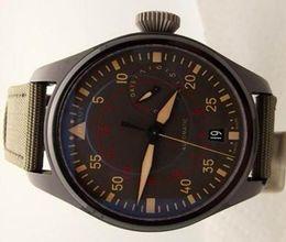Wholesale Mechanical Pilot - New Style Mens Mechanical Black PVD Pilot Watch Men Miramar Power Reserve Green Fabric Watches Men's Dive Sports 501902 Wristwatches