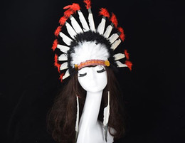 Wholesale Indian Halloween Costumes - Indian feather headdress crown war bonnet halloween fancy dress costume hat party headband cap colorful teens adults favors