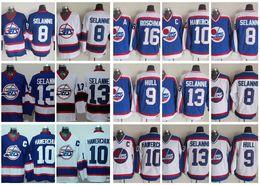 Wholesale Winnipeg Jersey - Throwback Winnipeg Jets Hockey Jerseys 13 Teemu Selanne 10 Dale Hawerchuk 9 Bobby Hull 16 Laurie Boschman Vintage CCM 8 Selanne Jersey
