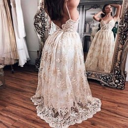 Wholesale Open Back Straps Wedding Dress - 2017 Newest A Line Lace Wedding Dresses Sexy Spaghetti Straps Sweetheart Sleeveless with Appliques Open Back Court Train Bridal Gowns BA5064