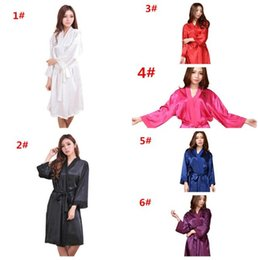 Wholesale Sleeping Sexy - 10pcs 6colors Hot Sale Women Fashion Satin Silk Nightgown women Wedding Bride Bridesmaid Sleep Dress Robes M028